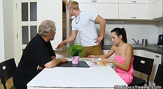 Old Goes Young - Sexy brunette Lora and her man