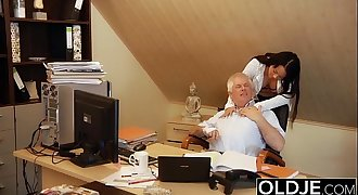 Young Old Manager Fucks Secretary Teen Pussy fucks her and facial cumshot cumshot