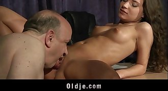 Old teacher fucking young whorish student honey