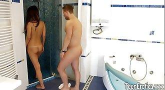teenager Angie Moon bathroom anal